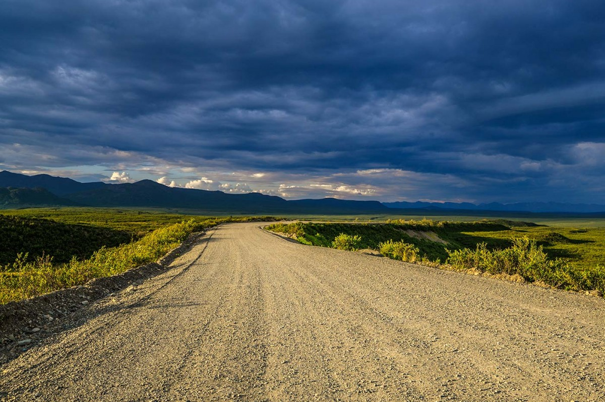 Looking down the Denali Highway as a storm brews to the north.