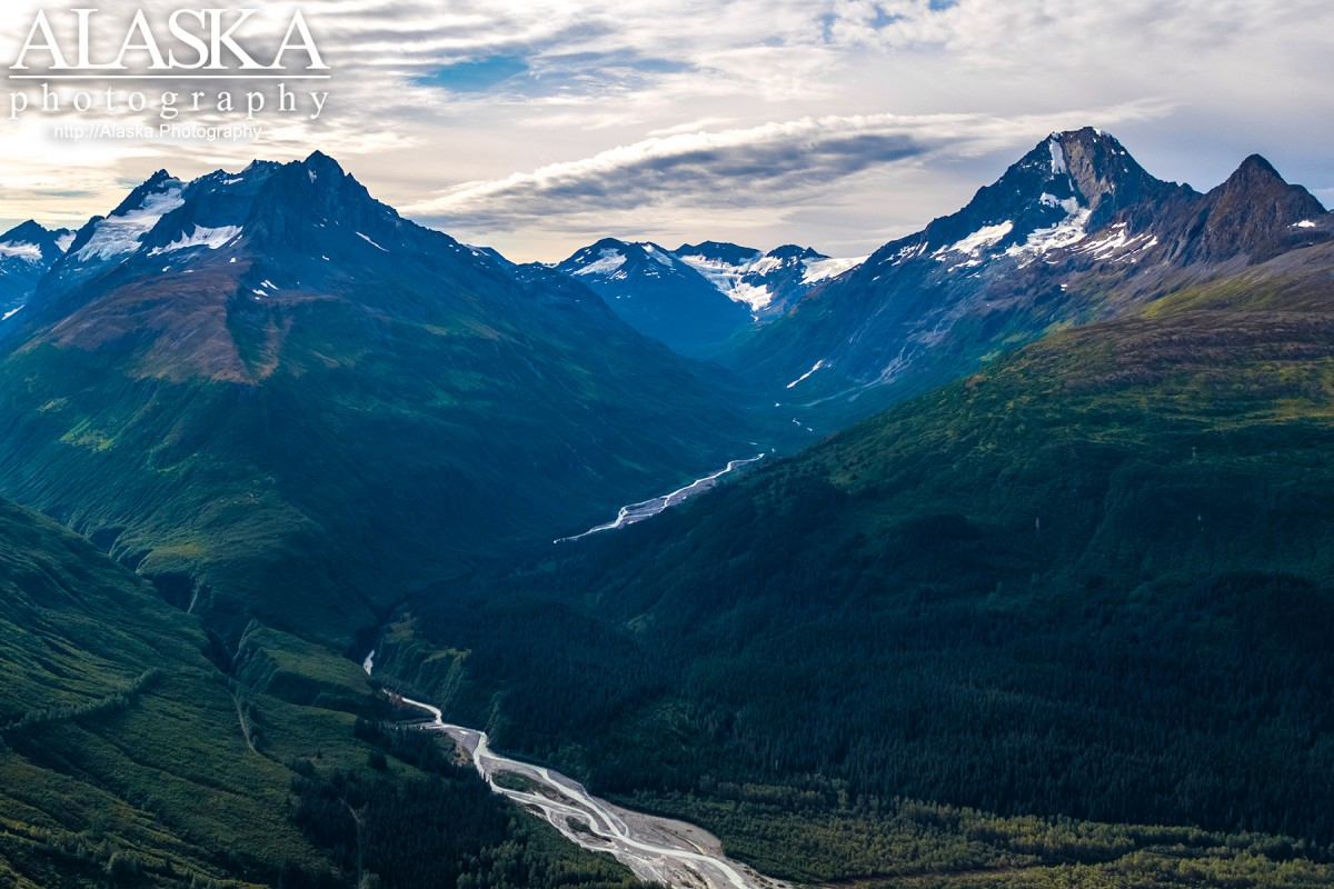 Looking up Browns Creek near Valdez with Meteorite Mountain to it's south(right).