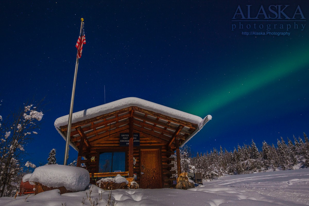 The Chicken, Alaska post office in winter.
