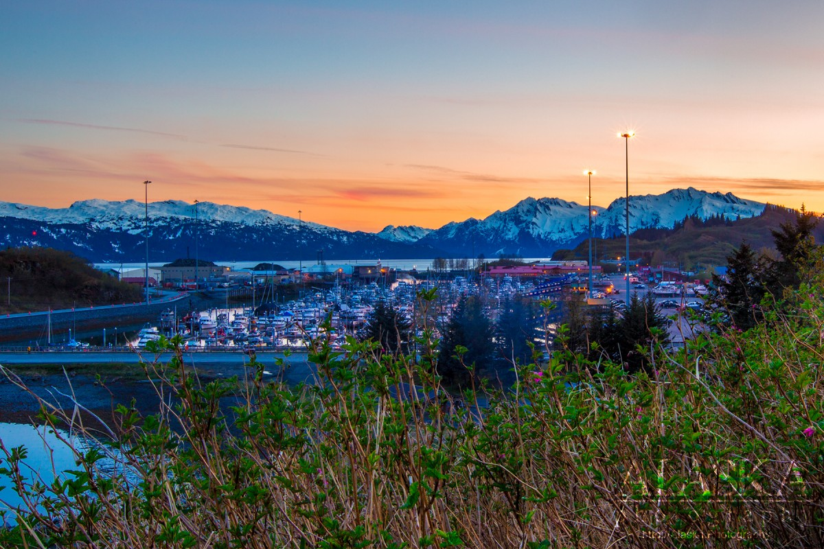 Catching the sunset from Dock Point looking at the Valdez Boat Harbor.