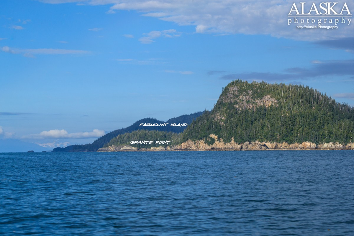 Granite Point with Fairmount Island behind it, Prince William Sound.