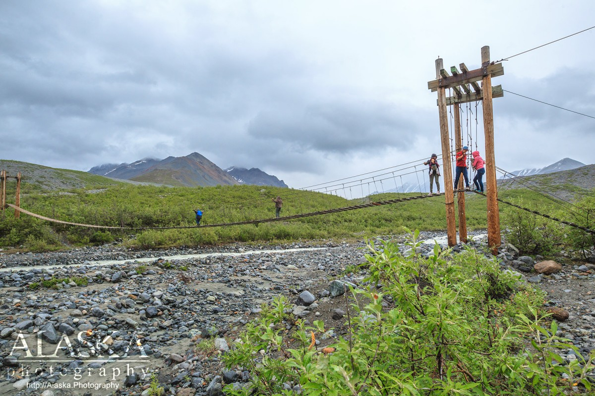 The bridge on Gulkana Glacier Trail crossing College Creek.