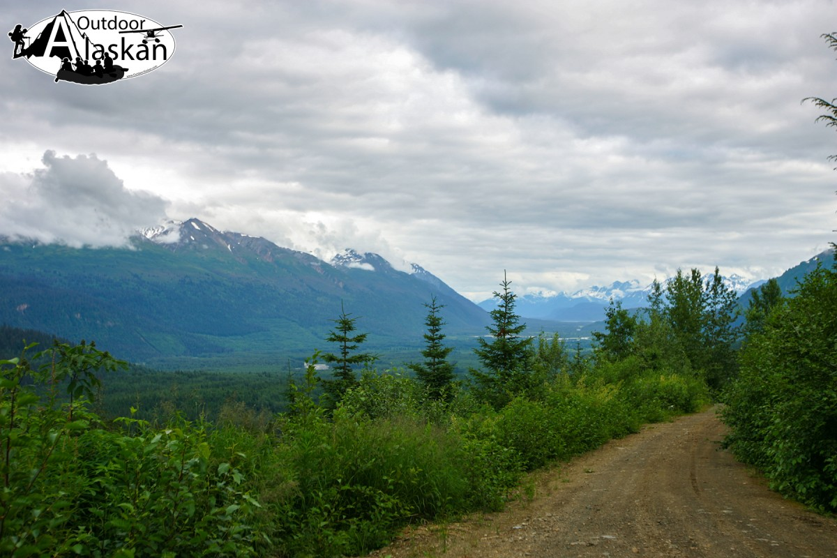 The view looking down Kelsall and Chilkat Valleys from on the Kelsall River Road.