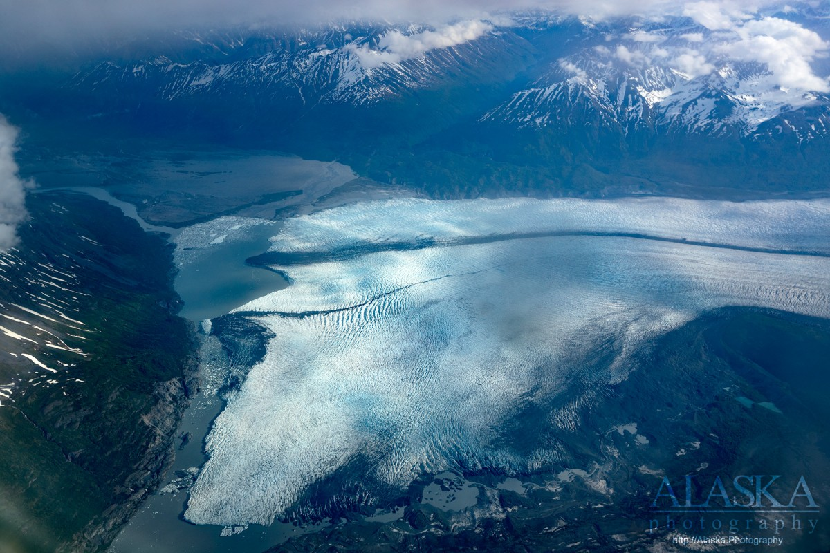 Looking down on Knik Glacier, and the Knik River from a commercial flight.