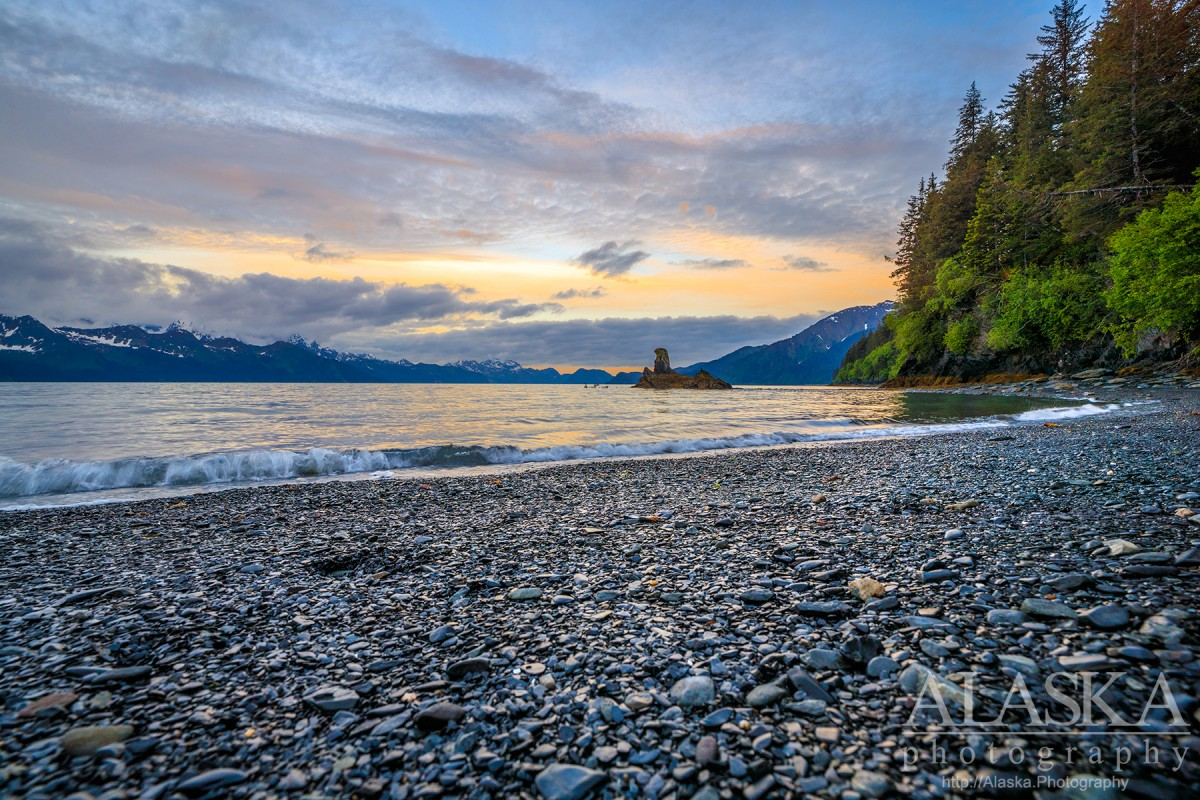 Looking south down Resurrection Bay from Lowell Point, Seward.