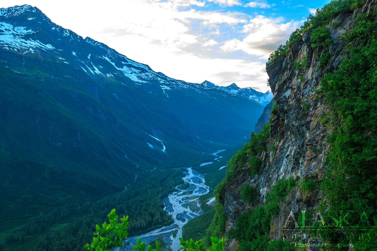 Looking up Mineral Creek and parts of Horsetail Creek from the High School Hill trail in Valdez.