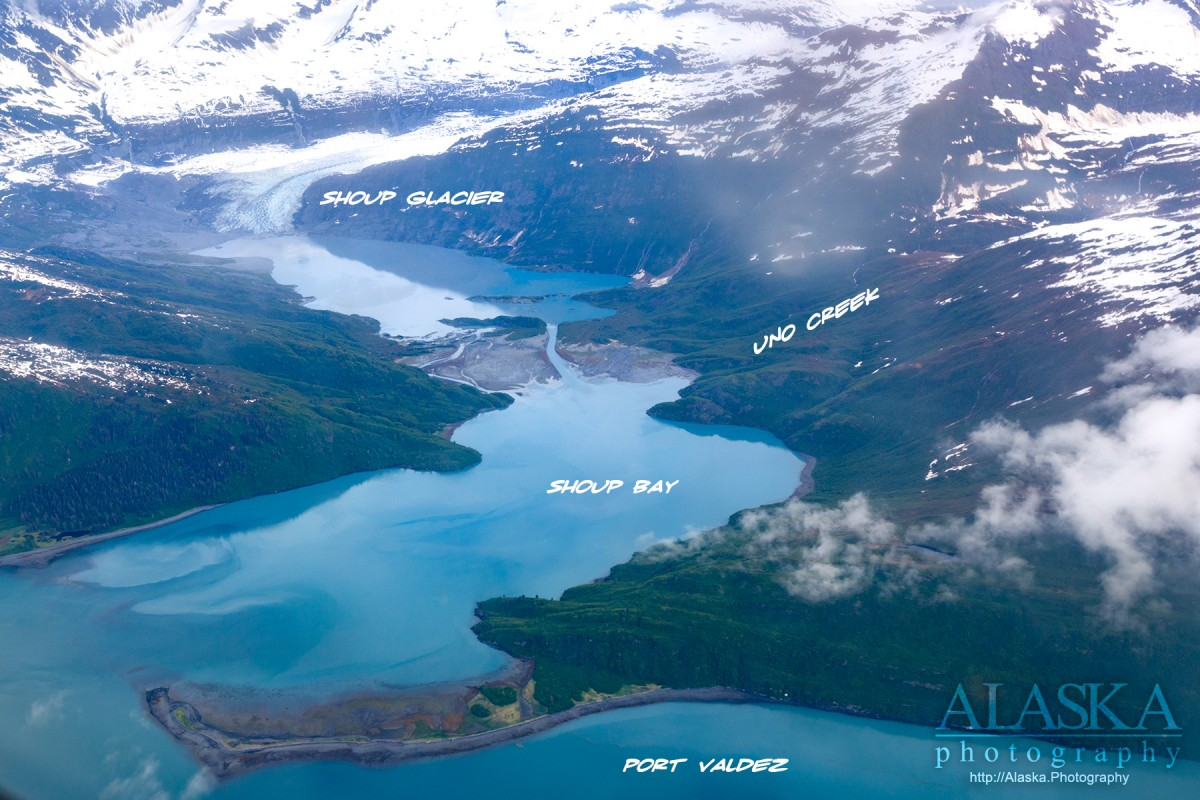 Looking down at Shoup Bay while flying out of Valdez.