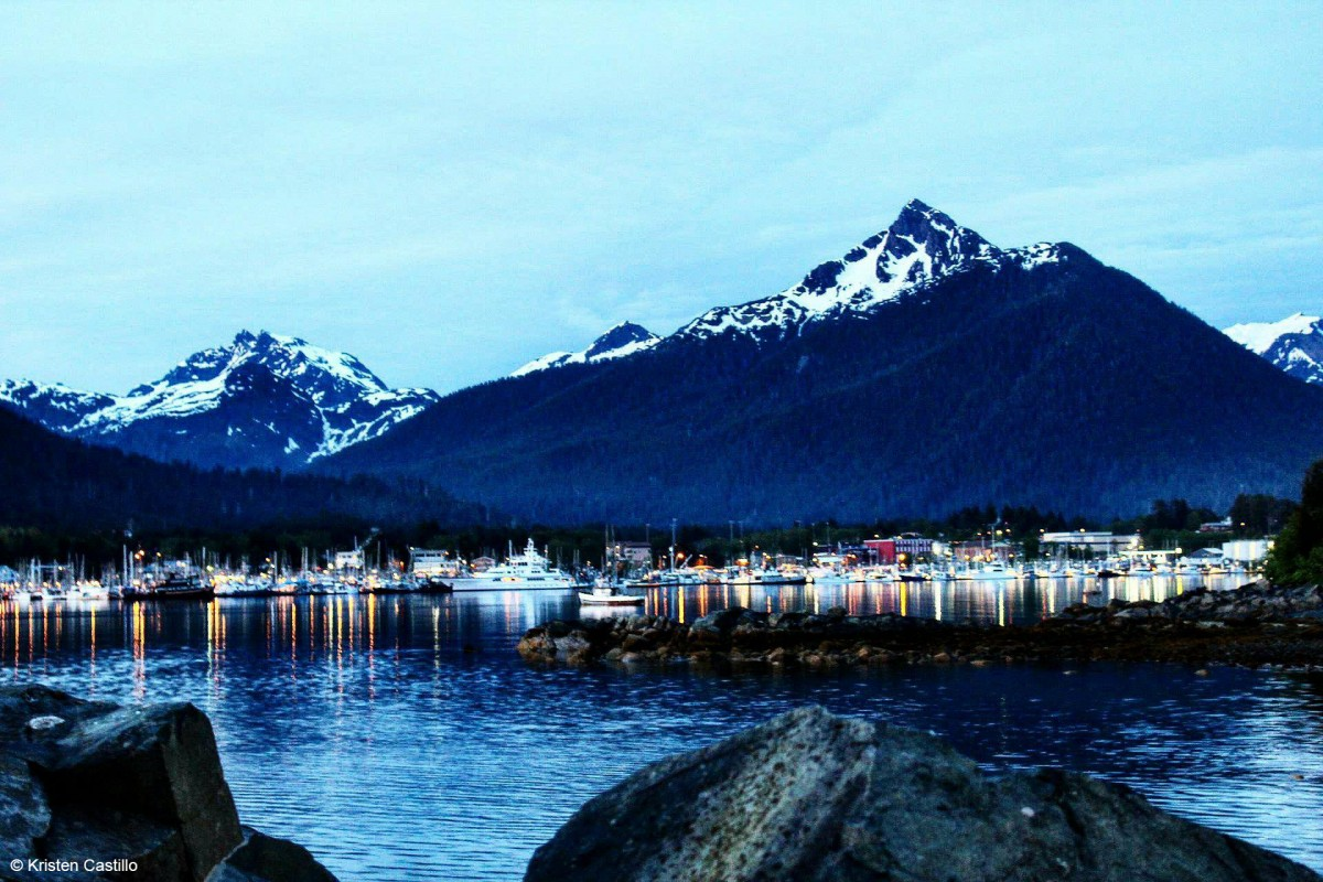 Looking across Sitka Harbor with Mount Verstovia in the background.