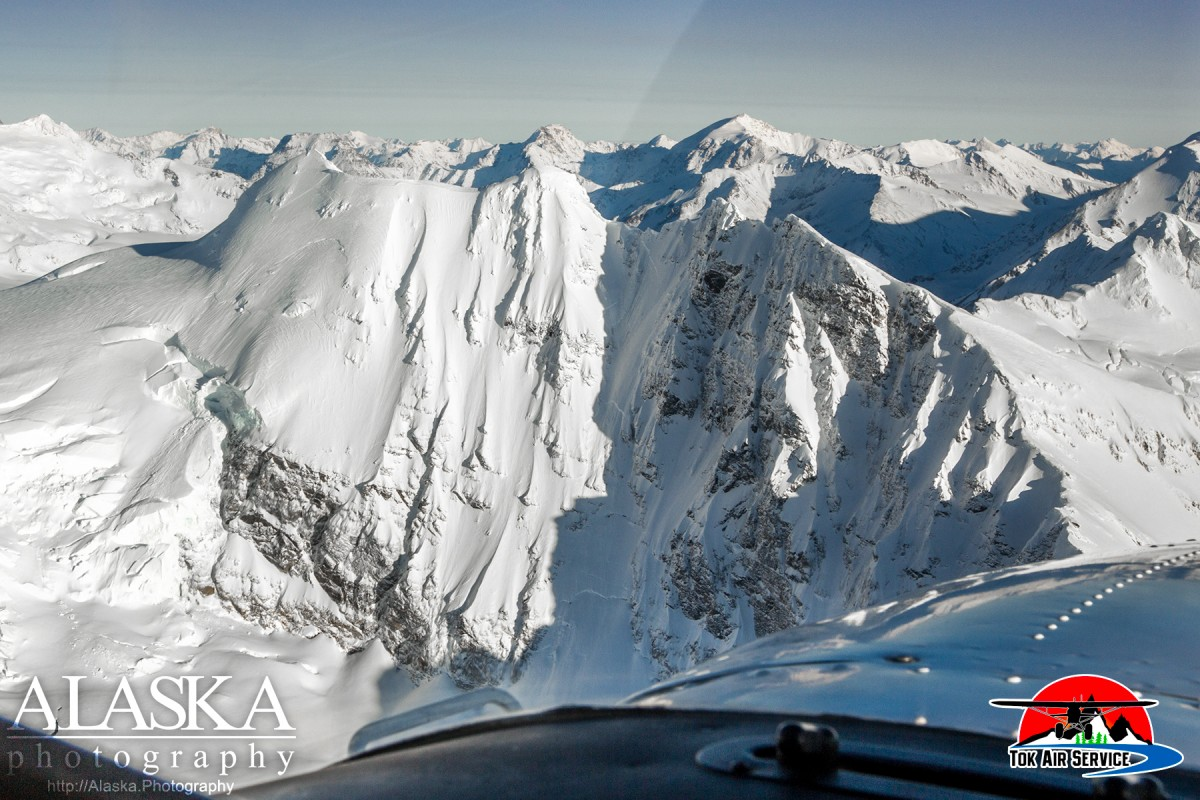 Looking at the west face of Snow White in the Alaska Range.