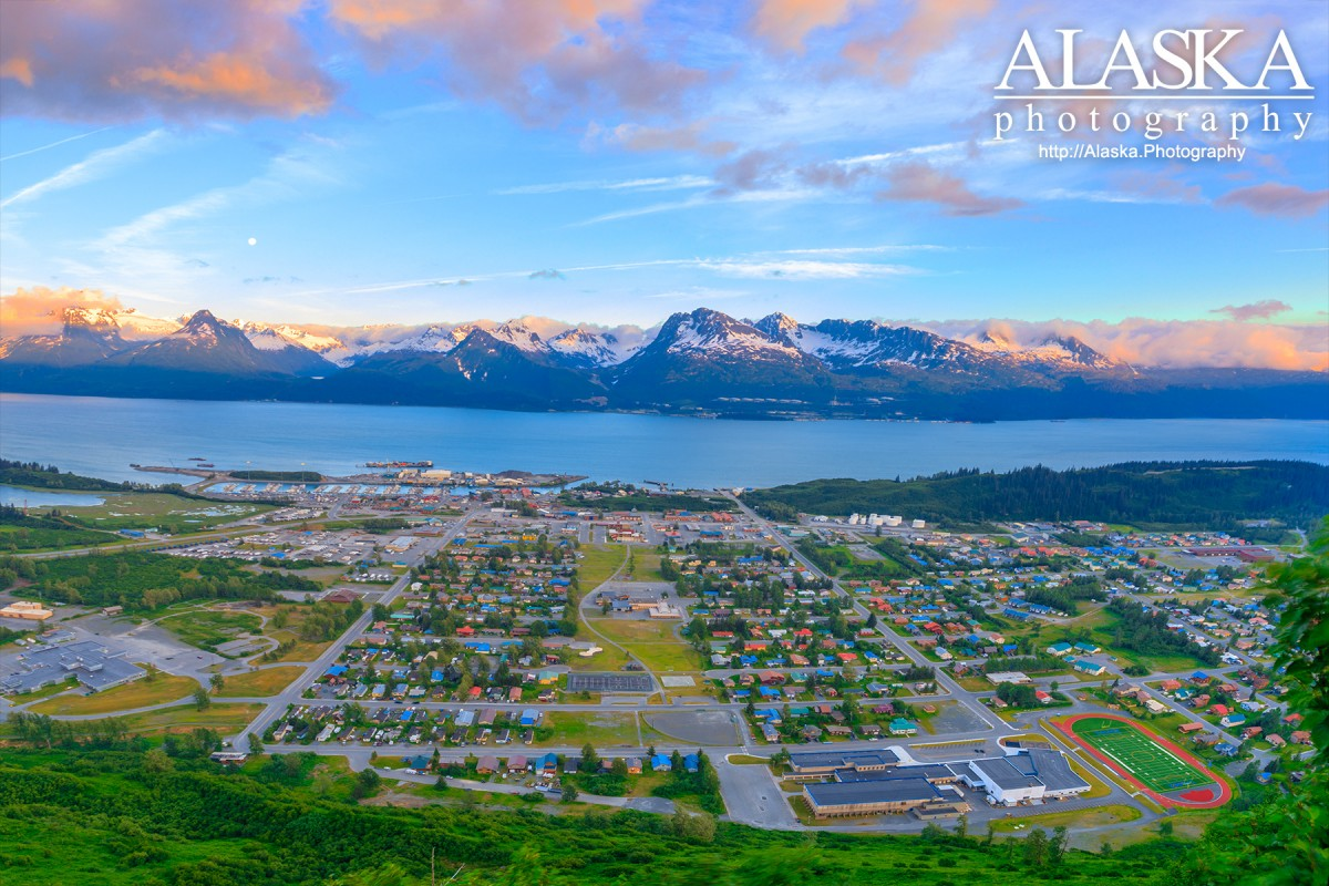 Looking out over Valdez from High School Hill behind town.
