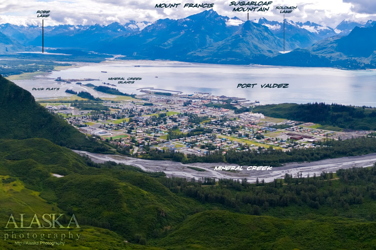 Looking out over Valdez and across Port Valdez.