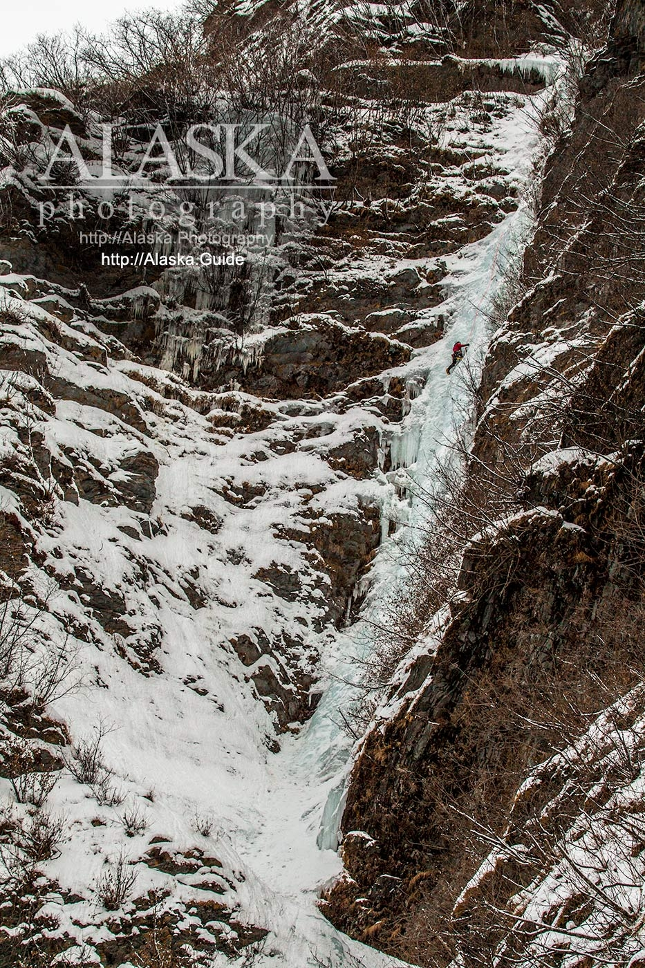 An ice climber works their way up Simple Twist of Fate during the 2016 Valdez Ice Climbing Festival.