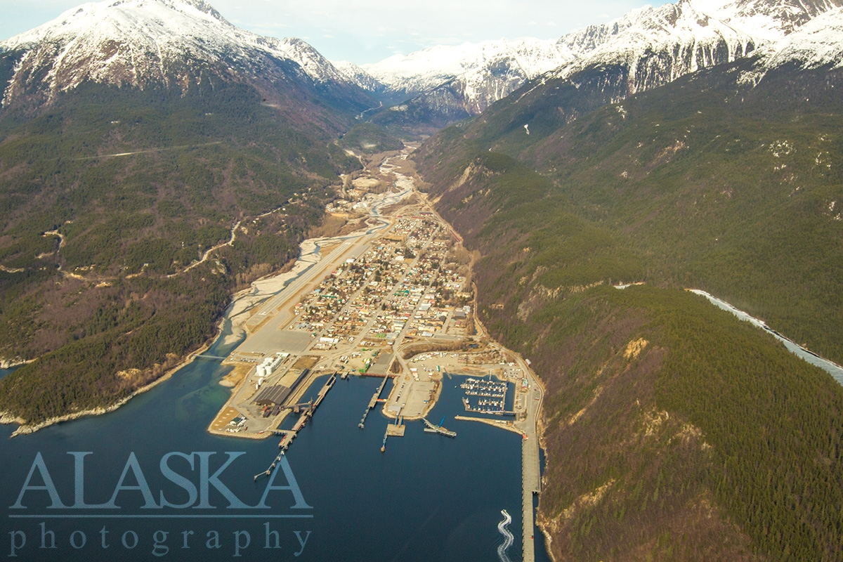Looking down at Skagway from above Taiya Inlet.