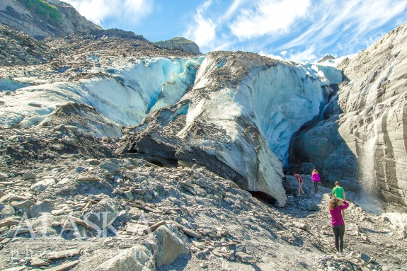 People hike up to the base of Worthington Glacier for a closer look. It's fairly steep to consider going past this point.