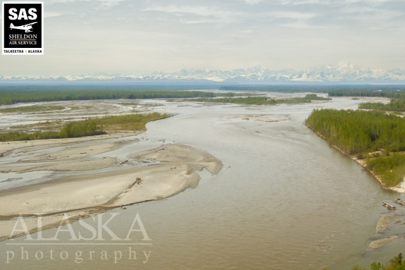 Taking off over the Susitna River flying out of Talkeetna.