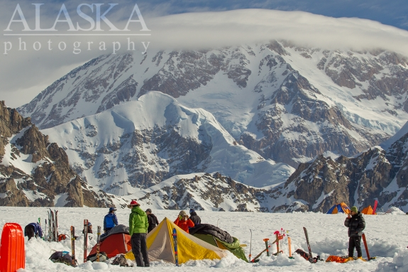 Denali (Mt McKinley) looms over basecamp on the Southeast Fork Kahiltna Glacier.
