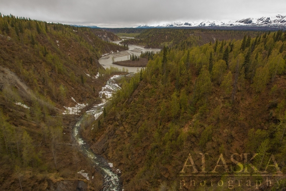 Where Hurricane Gulch runs in to Chulitna River, with the Alaska Range.