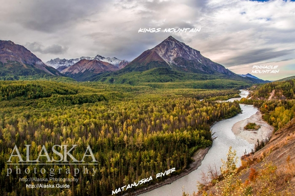 Looking out over the Matanuska River at Kings Mountain with Pinnacle Mountain in the background.