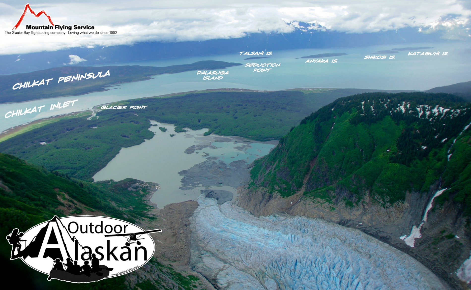 Looking down the Davidson Glacier out at Chilkat Inlet, Lynn Canal, Chilkat Peninsula, and the Chilkat Islands.