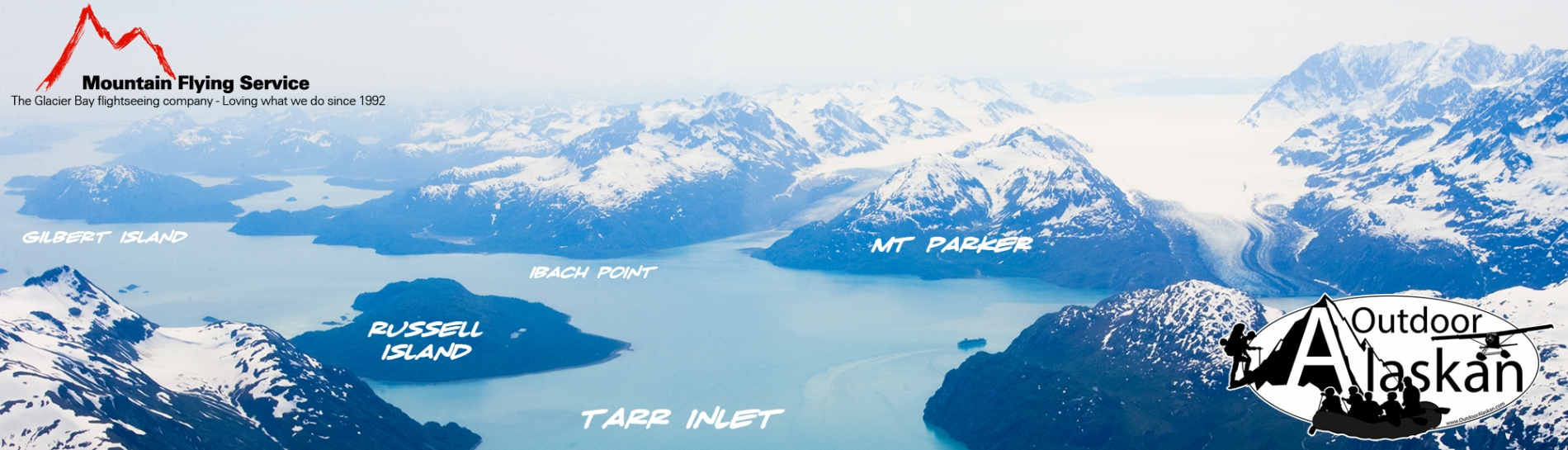 Looking south down Tarr Inlet. Lamplugh Glacier to the left of Mount Parker and Reid Glacier to the right of it. Reid Inlet between Ibach Point and Mt Parker. July 2009.
