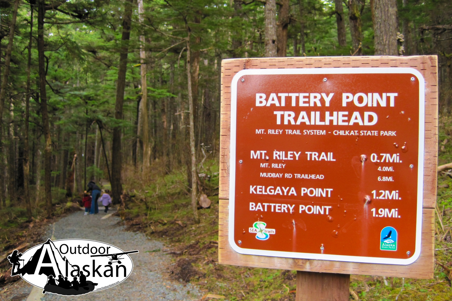 Battery Point Trail head sign.