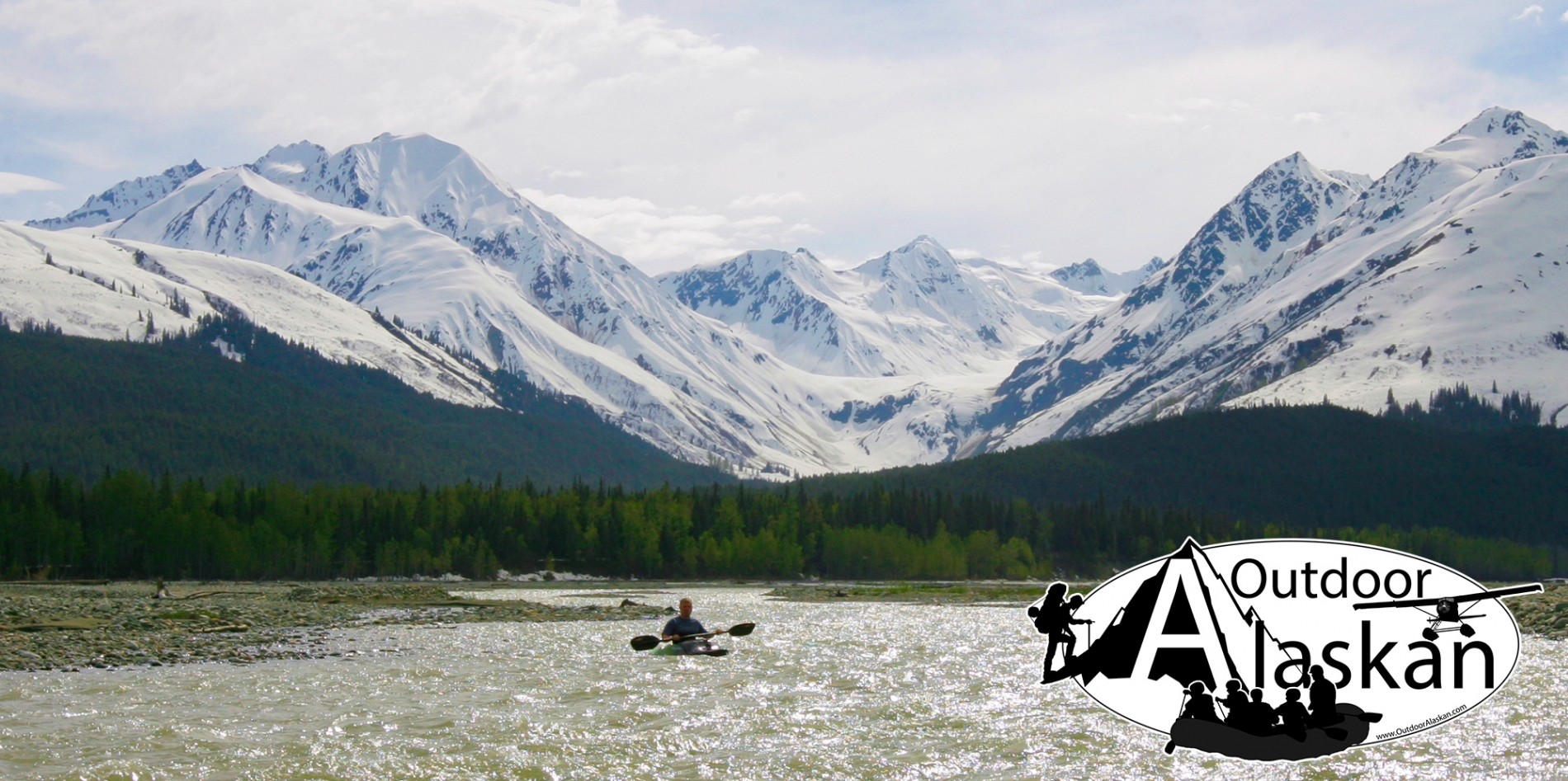 Kayaking the Klehini River with Flower Mountain on the left and Saksaia Glacier in the center.