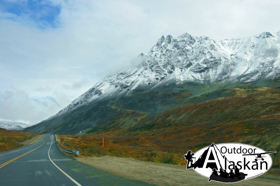 Heading up the Haines Highway towards Haines Junction. Glave peak sits crowned in snow as winter approaches. October 3, 2007.