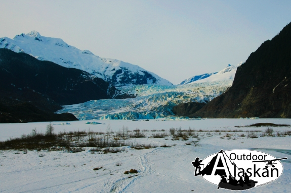 No it's not really called Mendenhall Way. But you're looking across frozen Mendenhall Lake, at Mendenhall Glacier, with Mendenhall Towers peeking up in the background. Mount Stroller White obviously the big white mountain (left) and little McGinnis Mountai