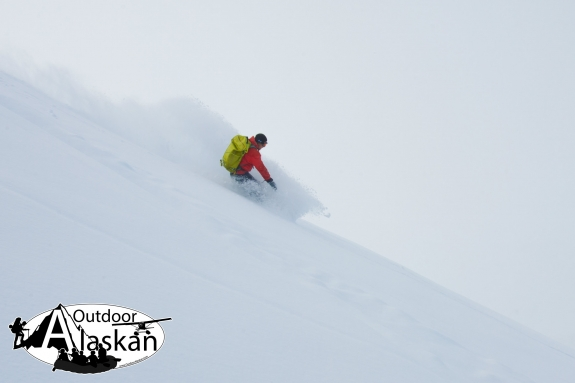 Carving up the untouched powder on Glave Peak. April 2008.