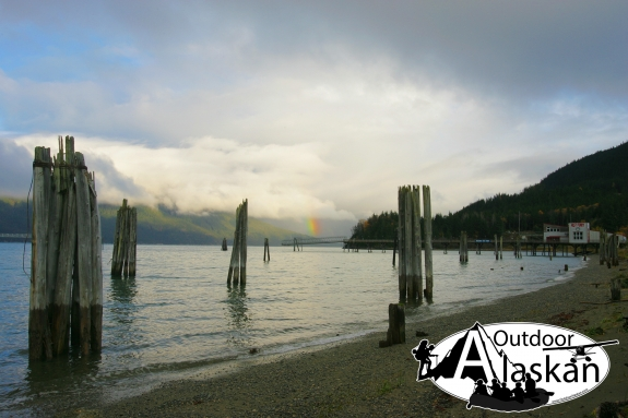 From the shores of Port Chilkoot looking across Lynn Canal to a rainbow over the Katzehin River.