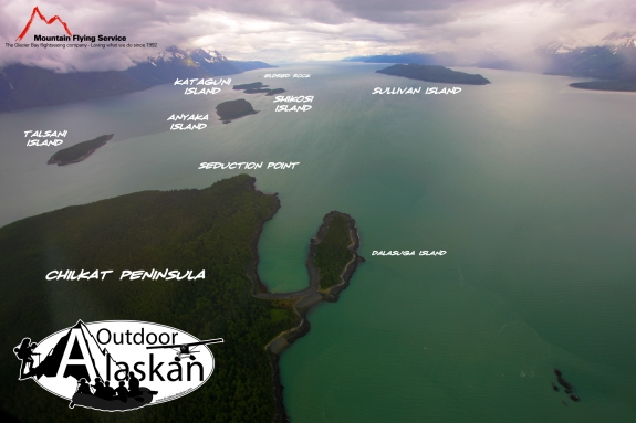 Looking south down Lynn Canal. The Chilkat Islands and Eldred Rock down the center, Sullivan Island off to the west, along with the Chilkat Range.
