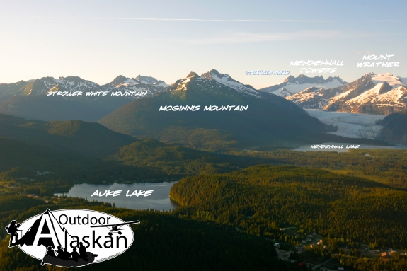 Looking out over Auke Lake, Mendenhall Lake, Mendenhall Glacier, and all the mountains behind them.