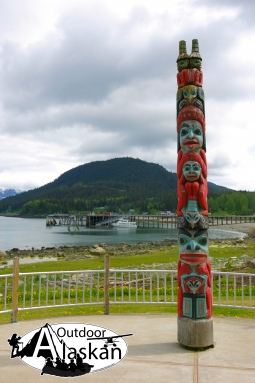 A Tlingit totem pole at Port Chilkoot, Haines.