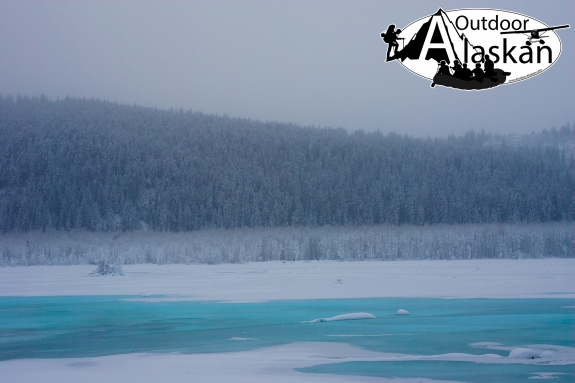 Brilliant blue ice of the Klehini River on a winters morning. Taken Jan 01, 2009.
