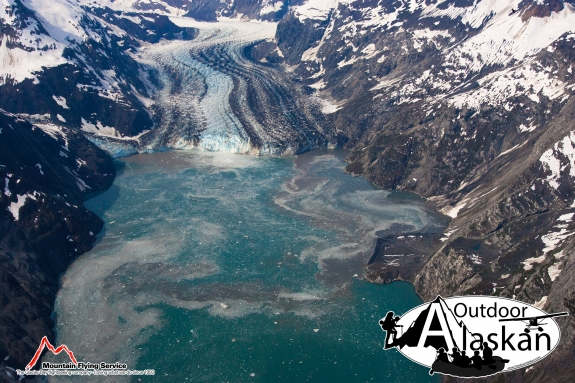 Gilman Glacier (left) meets up with Johns Hopkins Glacier at the head of Johns Hopkins Inlet.