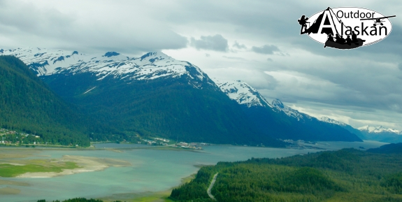 Looking south down the Gastineau Channel with Juneau on the left and Douglas Island on the right.