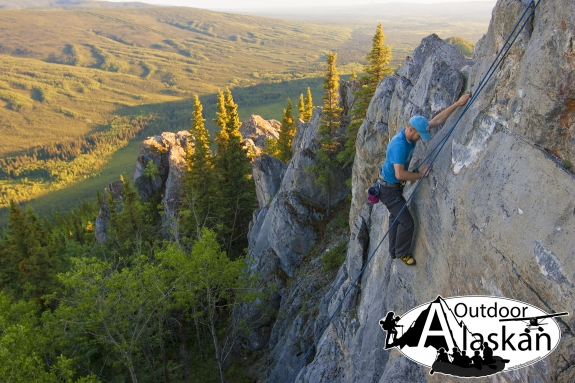 Climbing the upper wall of Grapefruit Rocks. July, 3, 2013, 10pm.