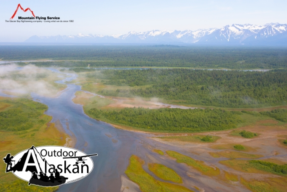 The Alsek River and East Alsek River drain from Alsek Lake and flow to the Gulf of Alaska. In between is Bear Island, a rather large in land island. The Brabazon Range frames the background.