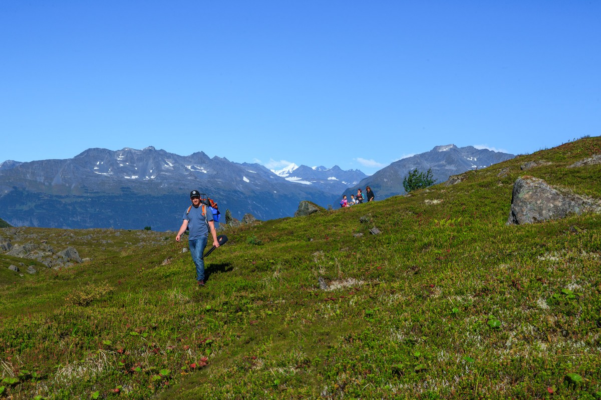 Hiking up in the Alpine above Valdez on a guided tour.