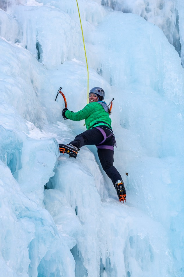 Ice climbing the falls in Keystone Canyon on a Valdez ice climbing tour.