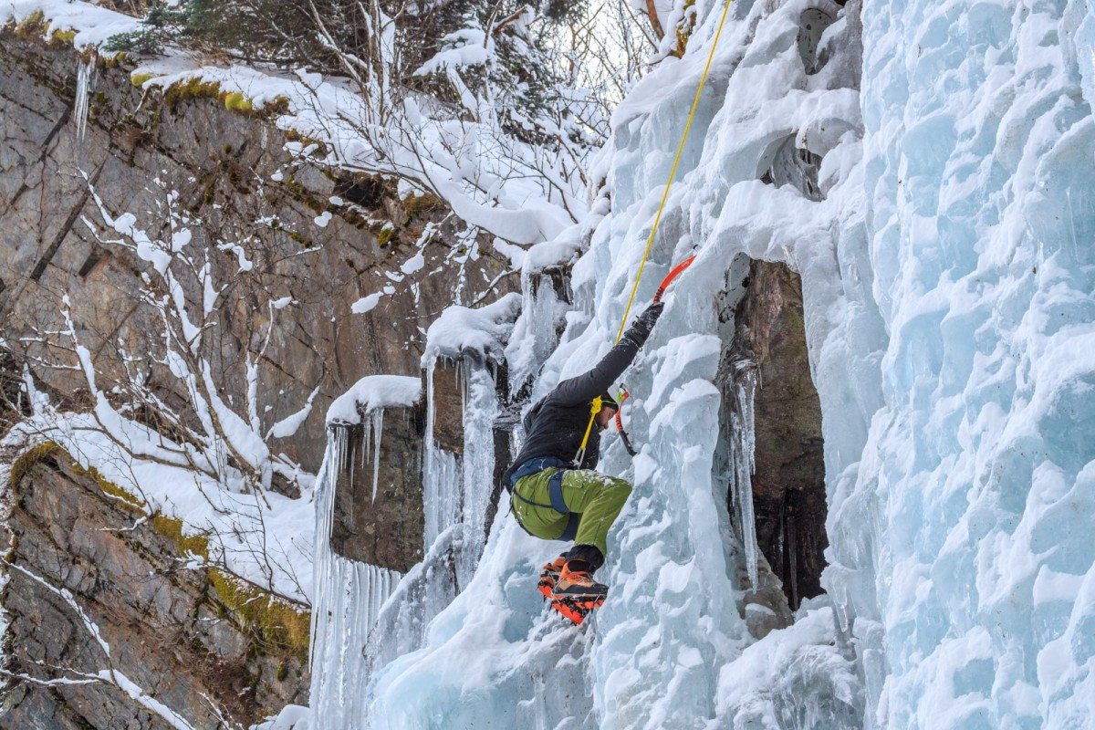 Doing the reach on a guided Valdez ice climbing tour.