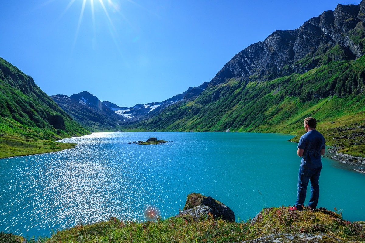 Guided hike to an alpine lake near Valdez.