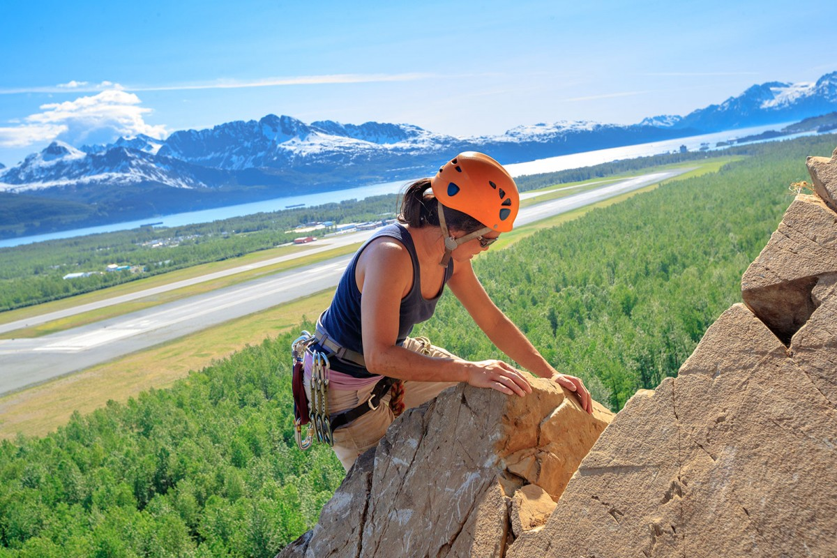 Rock climbing tours with excellent views of Valdez.