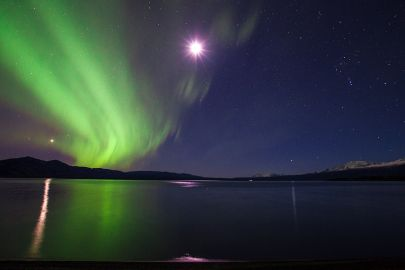 The aurora's dance besides a full moon above Kluane Lake on our northern lights tour.