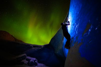 Sometimes when the when the sky is bright we get a little night climbing in on the ice bergs. Night tours available at higher rate than day tour.