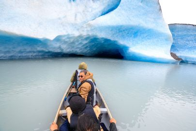 Canoeing out around the icebergs of Valdez Glacier.