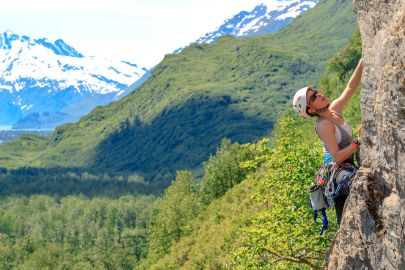 Rock climbing in Valdez.